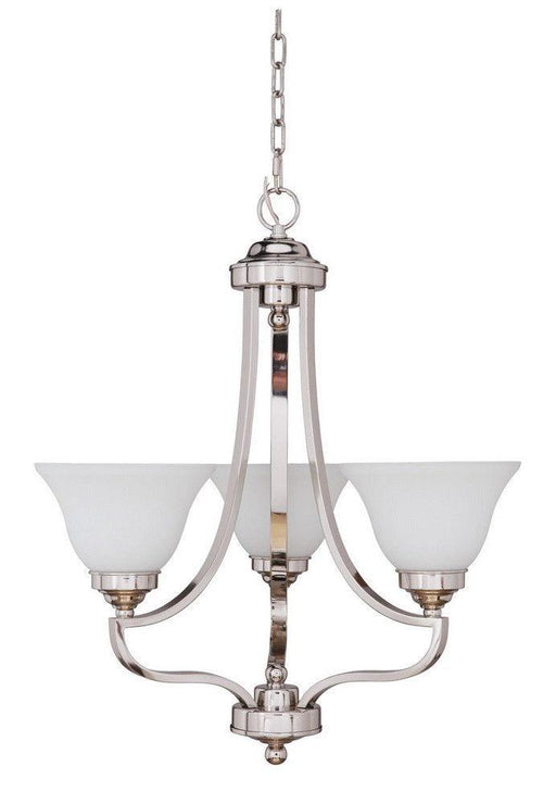 Craftmade Lighting 9822PLN3 Portia Collection Three Light Hanging Chandelier in Polished Nickel Finish
