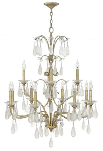 Hinkley Lighting Fredrick Ramond FR40318 SLF Francesca Collection Twelve Light Hanging Chandelier in Silver Leaf Finish - Quality Discount Lighting