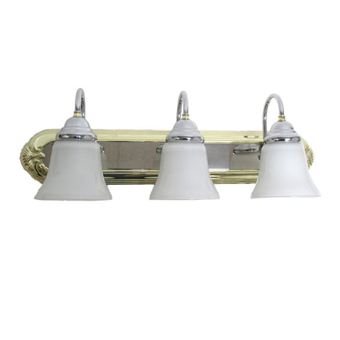 Designers Fountain Lighting B203CHB-2537 Three Light Bath Vanity Wall in Polished Brass and Chrome Finish - Quality Discount Lighting