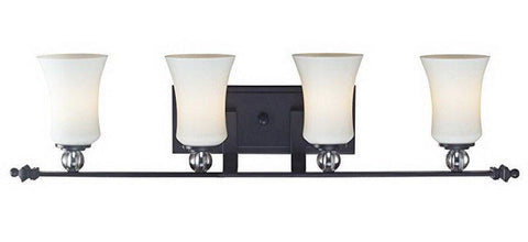 Z-Lite Lighting 604-4V Harmony Collection Four Light Bath Vanity Wall Mount in Matte Black Finish