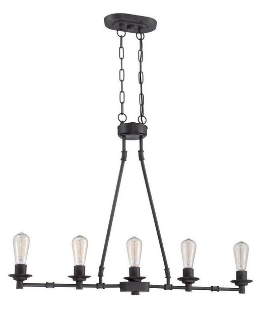 Craftmade Lighting 37875 ABZ Hadley Collection Five Light Hanging Linear Chandelier in Aged Bronze Finish
