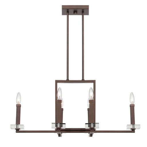 Designers Fountain Lighting 84386-FBZ Fieldhouse Collection Six Light Hanging Island Linear Chandelier in Flemish Bronze Finish