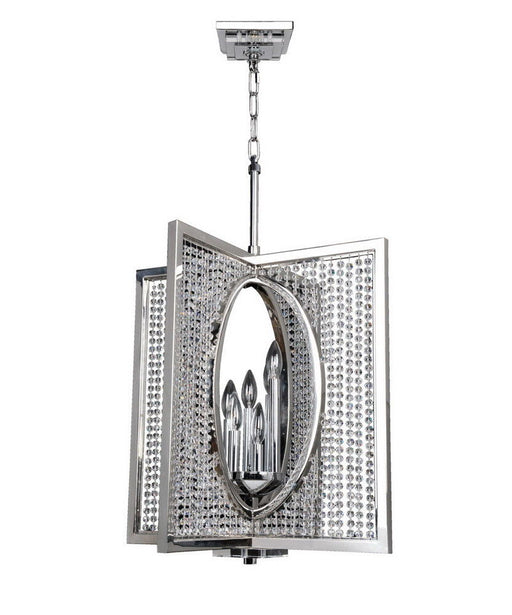 Kalco Lighting 10137-010-FR001 Rockefeller Collection Six Light Hanging Pendant Chandelier in Polished Chrome Finish