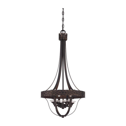 Craftmade Lighting 36334 ABZG Amsden Collection Four Light Pendant Chandelier in Aged Bronze with Gold Finish