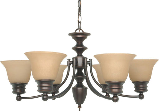 Nuvo Lighting 60-3129 Empire Collection Six Light Energy Star Efficient GU24 Hanging Chandelier in Mahogany Bronze Finish