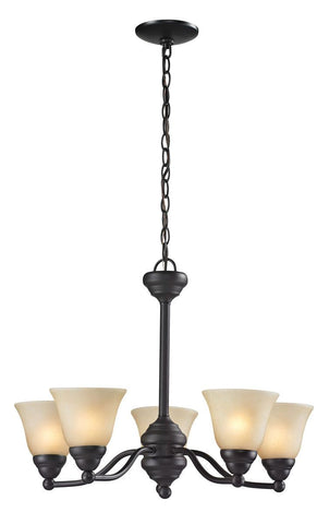 Z-Lite Lighting 2114-5 Athena Collection Five Light Hanging Chandelier in Bronze Finish