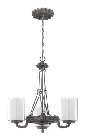 Craftmade Lighting 38623 AGV Prime Collection Three Light Hanging Chandelier in Aged Galvanized Finish