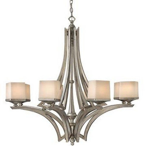 Hinkley Lighting Fredrick Ramond FR49192 SLF San Simeon Collection Eight Light Hanging Chandelier in Silver Leaf Finish - Quality Discount Lighting