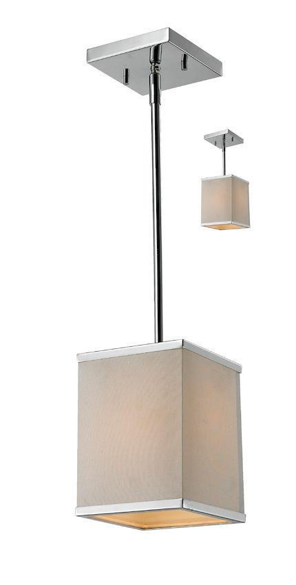Z-Lite Lighting 194-6 Rego Collection One Light Mini Pendant or Semi Flush Ceiling Mount in Polished Chrome Finish