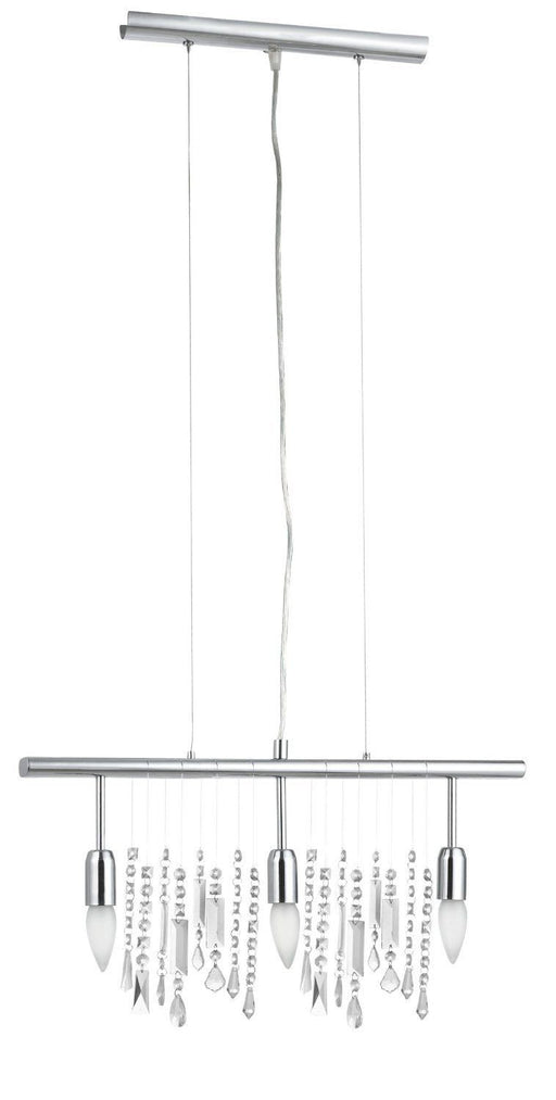 Eglo Lighting 20678A Vitoria Collection Three Light Trestle Hanging Island Pendant Chandelier in Polished Chrome Finish - Quality Discount Lighting