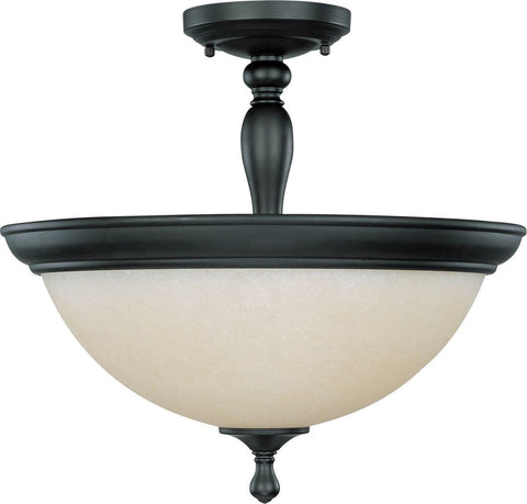 Nuvo Lighting 60-2787 Bella Collection Three Light Semi Flush Ceiling in Aged Bronze Finish