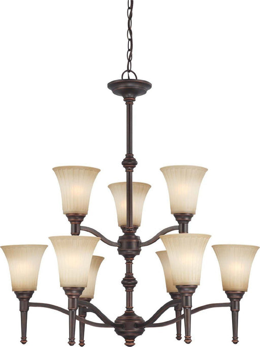 Nuvo Lighting 60-4249 Franklin Collection Nine Light Hanging Chandelier in Georgetown Bronze Finish - Quality Discount Lighting