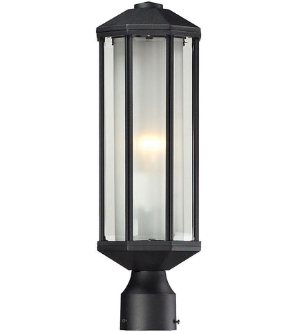 Z-Lite Lighting 525PH-BK Cylex Collection One Light Outdoor Exterior Post Lantern in Black Finish