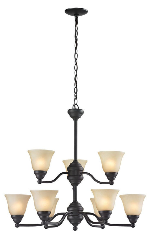 Z-Lite Lighting 2114-9 Athena Collection Nine Light Hanging Chandelier in Bronze Finish