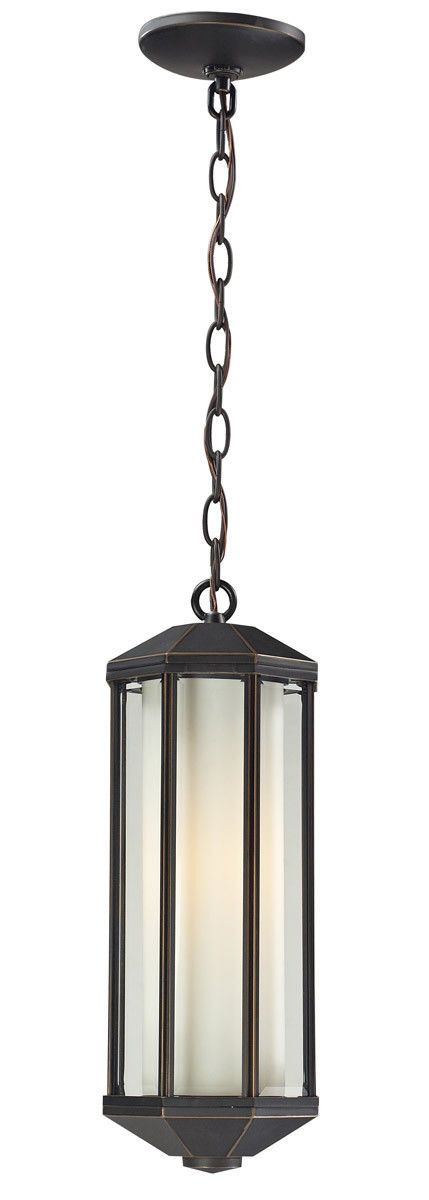 Z-Lite Lighting 526CH-ORB Cylex Collection One Light Outdoor Exterior Hanging Lantern in Oil Rubbed Bronze Finish