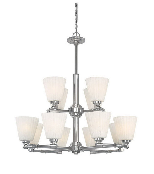Designers Fountain Lighting 967812 SP Celeste Collection Twelve Light Hanging Chandelier in Satin Platinum Finish - Quality Discount Lighting