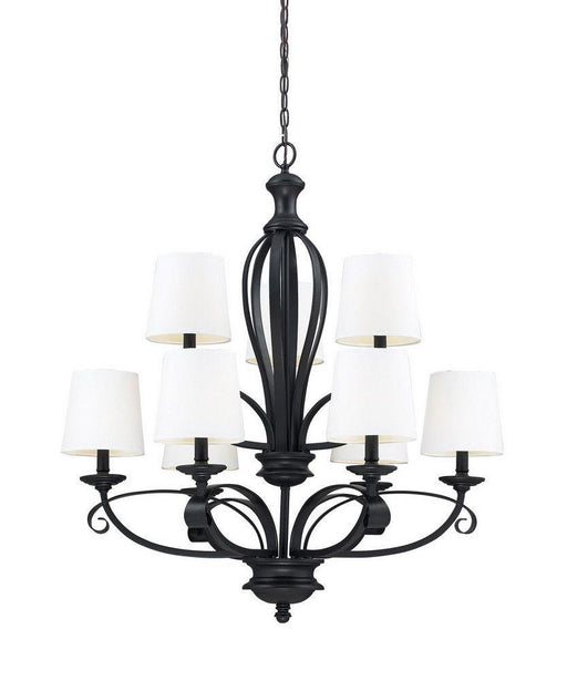 Z-Lite Lighting 2007-9 Charleston Collection Nine Light Chandelier in Matte Black Finish