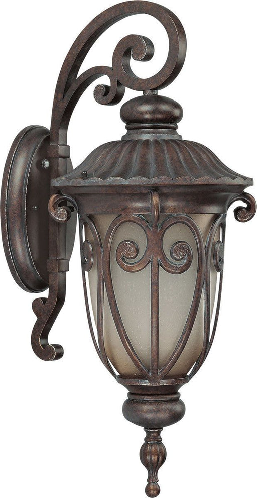 Nuvo Lighting 60-3924 Corniche Collection One Light Energy Efficient GU24 Exterior Outdoor Wall Lantern in Burlwood Finish