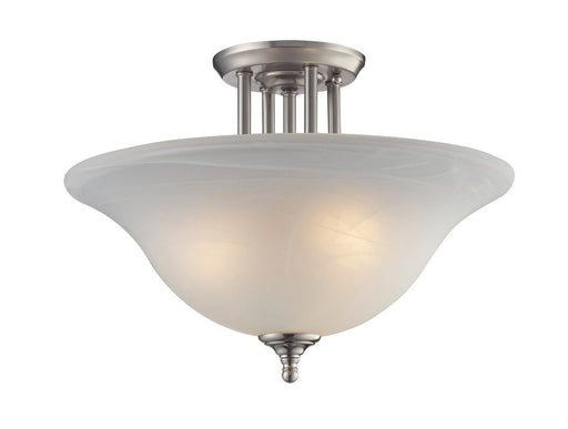 Z-Lite Lighting 2110-SF Athena Collection Three Light Semi Flush Ceiling Mount in Brushed Nickel Finish with Swirl Alabaster Glass