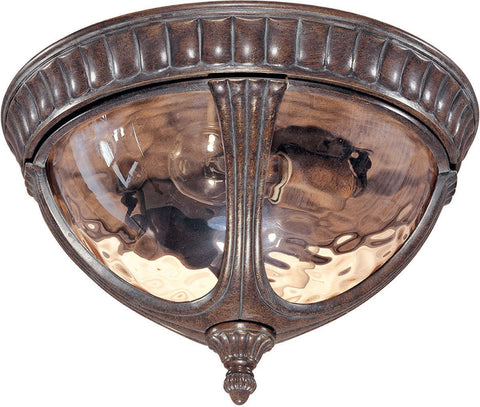 Nuvo Lighting 60-2007 Beaumont Collection Two Light Exterior Outdoor Flush Ceiling Mount in Fruitwood Finish