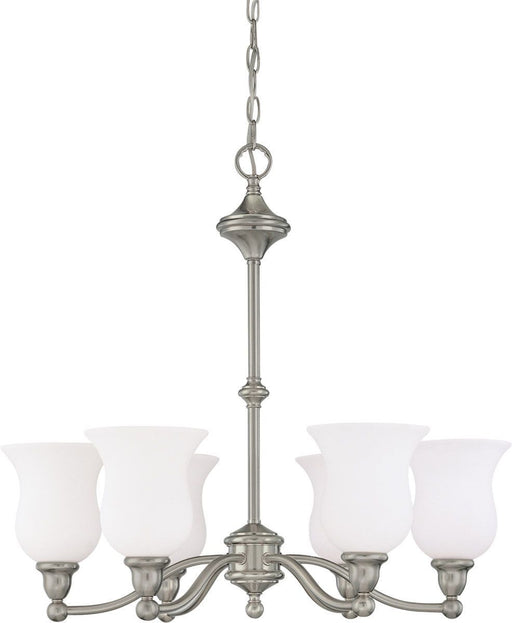 Nuvo Lighting 60-1802 Glenwood Collection Six Light Hanging Chandelier in Brushed Nickel Finish