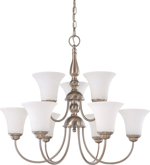 Nuvo Lighting 60-1903 Dupont Collection Nine Light Energy Star Efficient GU24 Hanging Chandelier  in Brushed Nickel Finish