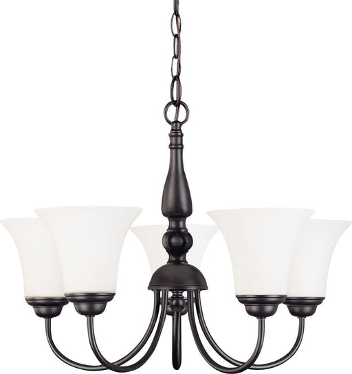 Nuvo Lighting 60-41922 Dupont Collection Five Light Energy Star Efficient LED GU24 Hanging Chandelier  in Dark Chocolate Finish