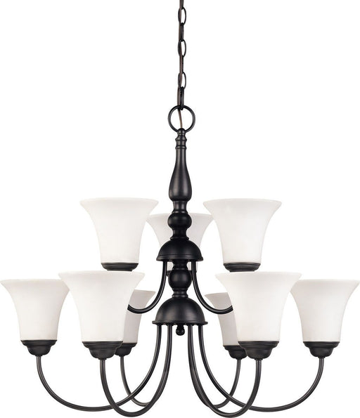 Nuvo Lighting 60-1923 Dupont Collection Nine Light Energy Star Efficient GU24 Hanging Chandelier  in Dark Chocolate Finish