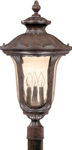 Nuvo Lighting 60-2011 Beaumont Collection Three Light Exterior Outdoor Post Lantern in Fruitwood Finish