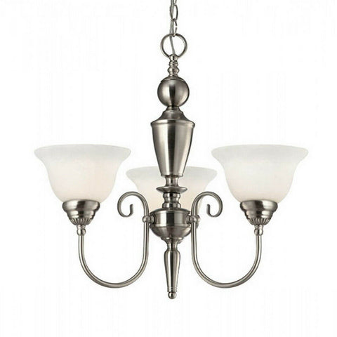 Rainbow Lighting 203 BN  Three Light Hanging Chandelier in Brushed Nickel Finish