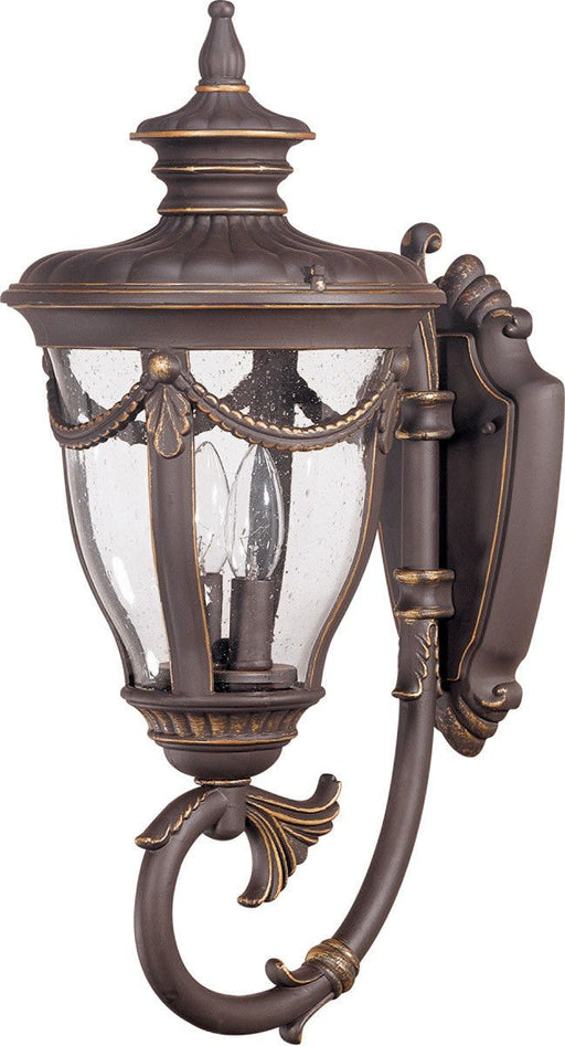 Nuvo Lighting 60-2043 Philippe Collection Two Light Exterior Outdoor Wall Lantern in Belgium Bronze Finish