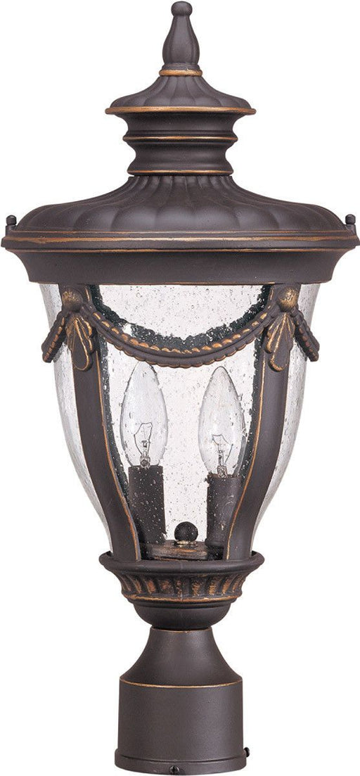 Nuvo Lighting 60-2049 Philippe Collection Two Light Exterior Outdoor Post Lantern in Belgium Bronze Finish