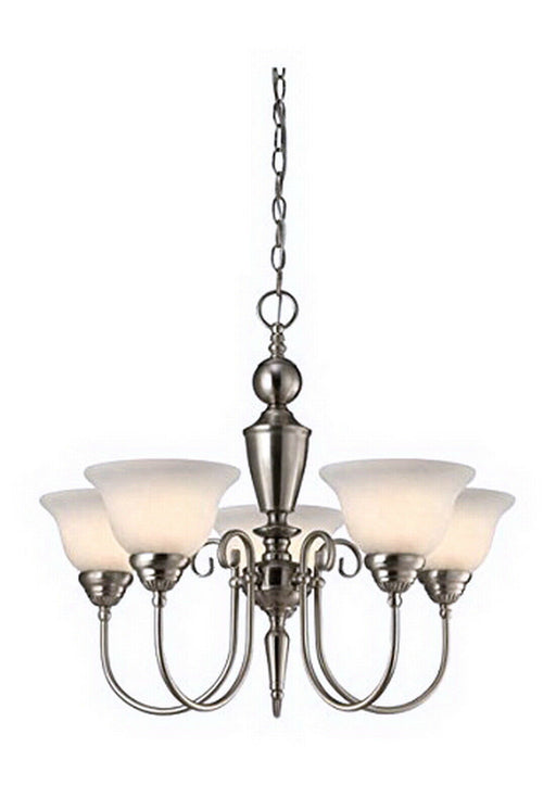 Rainbow Lighting 205 BN  Five Light Hanging Chandelier in Brushed Nickel Finish