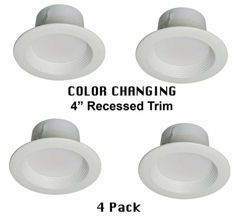 Utilitech 20992-001 Four Inch Wattage and Color Adjustable LED Retrofit Recessed Trims in White Finish - 4 Pak