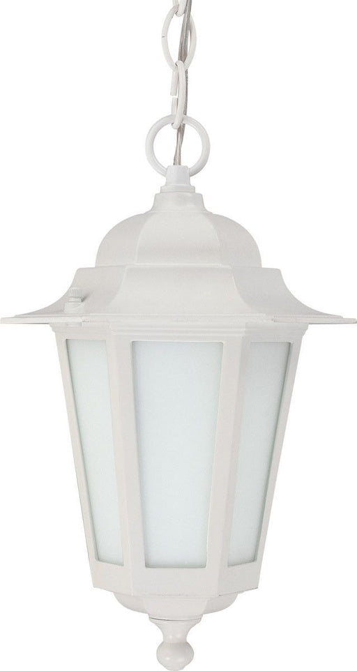Nuvo Lighting 60-2207 Cornerstone Collection One Light Energy Saver Exterior Outdoor Hanging Pendant Lantern in White Finish