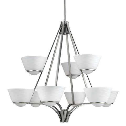 Aztec by Kichler Lighting 34896 Nine Light Daphne Collection Hanging Chandelier in Brushed Nickel Finish