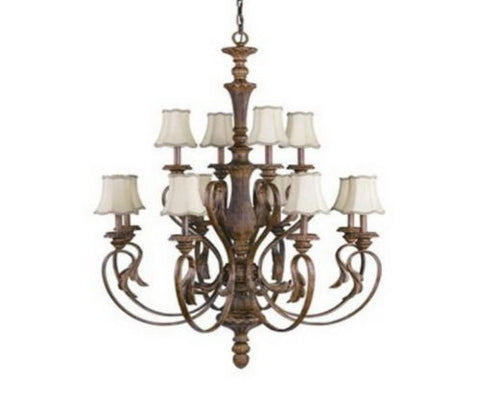 Kichler Lighting 2341 WSG Chauncey Twelve Light Hanging Chandelier in Weathered Sage Finish - Quality Discount Lighting