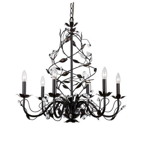 Trans Globe 236752 Six Light Hanging Chandelier in Oil Rubbed Bronze Finish