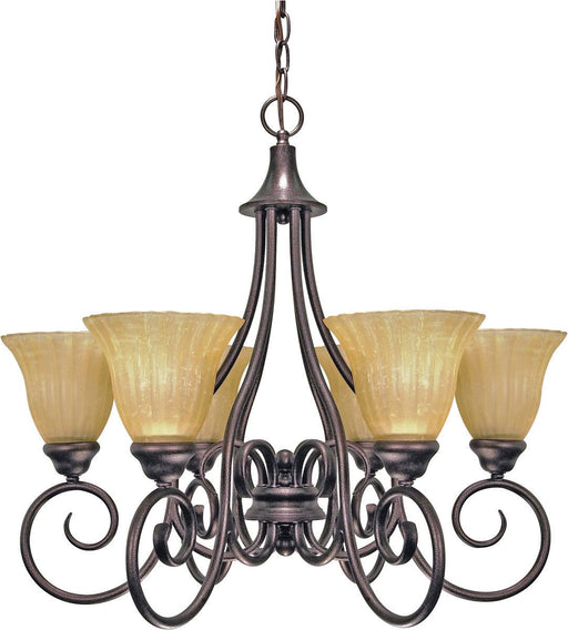 Nuvo Lighting 60-2403 Moulan Collection Six Light Energy Efficient Fluorescent Chandelier in Copper Bronze Finish
