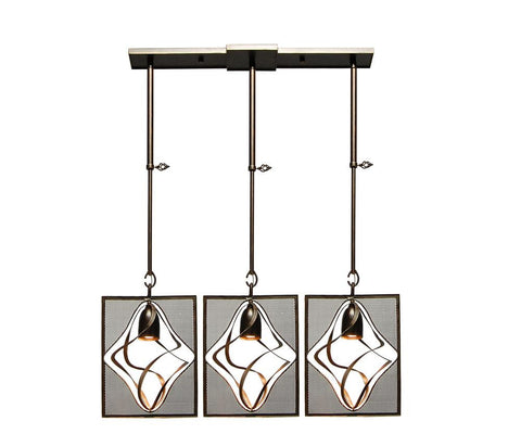 Kalco Lighting 2696-1VI Oxford Collection Three Light Island Pendant Chandelier in Vintage Iron Finish - Quality Discount Lighting