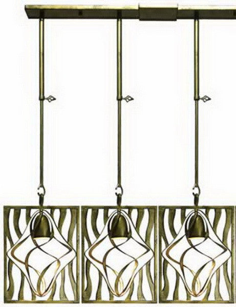 Kalco Lighting 2696-2SV Oxford Collection Three Light Island Pendant Chandelier in Aged Silver Finish - Quality Discount Lighting
