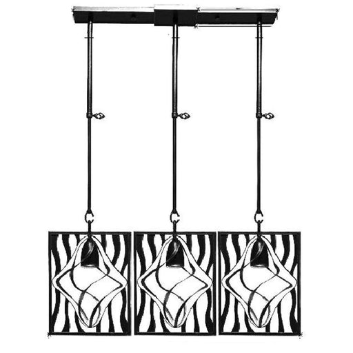 Kalco Lighting 2696-2VI Oxford Collection Three Light Island Pendant Chandelier in Vintage Iron Finish - Quality Discount Lighting