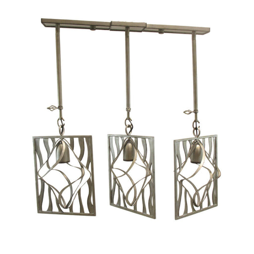 Kalco Lighting 2696-2SV Oxford Collection Three Light Island Pendant Chandelier in Aged Silver Finish