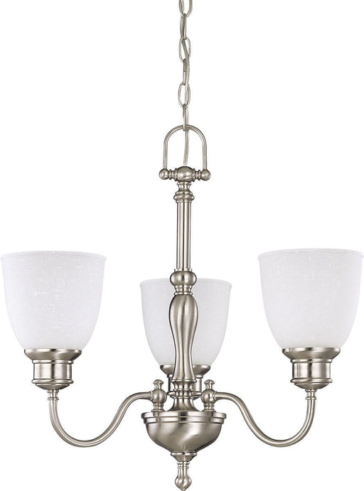 Nuvo Lighting 60-2773 Bella Collection Three Light Hanging Chandelier in Brushed Nickel Finish