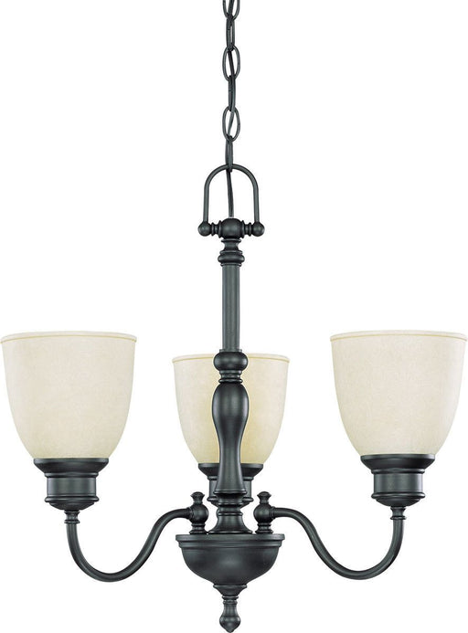 Nuvo Lighting 60-2774 Bella Collection Three Light Hanging Chandelier in Aged Bronze Finish