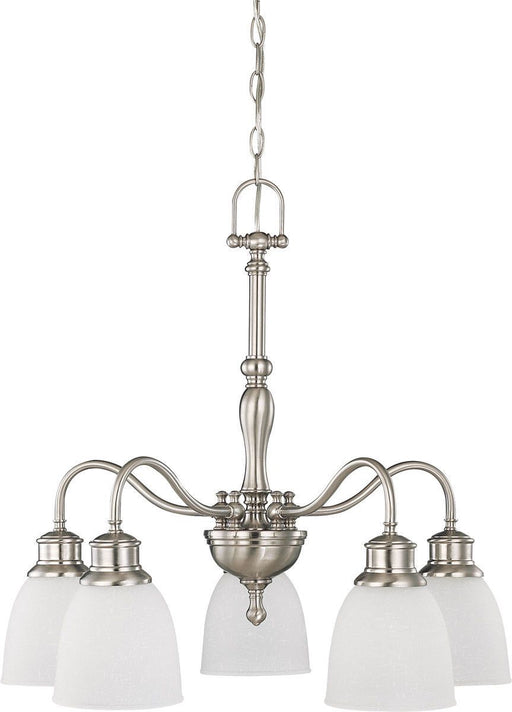 Nuvo Lighting 60-2777 Bella Collection Five Light Hanging Chandelier in Brushed Nickel Finish