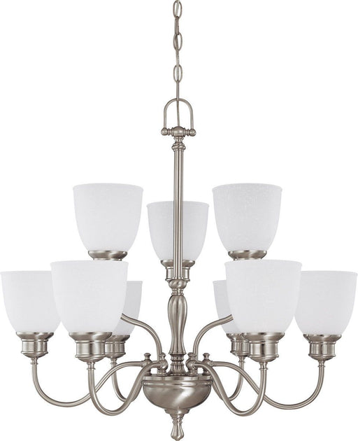 Nuvo Lighting 60-2779 Bella Collection Nine Light Hanging Chandelier in Brushed Nickel Finish