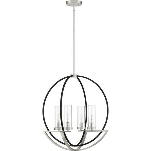 Quoizel Lighting ASH28699A Four Light Hanging Pendant Chandelier in Brushed Nickel and Black Finish