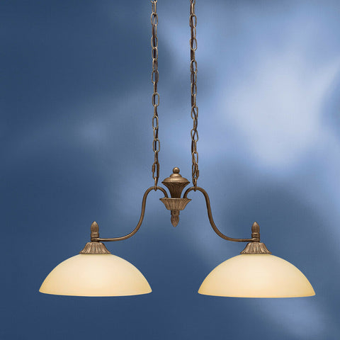 Aztec by Kichler Lighting 34571 Two Light Woodlawn Collection Hanging Island Chandelier in Tannery Bronze Finish