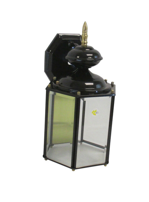 Rainbow EVER 3002 BLK/PB One Light Exterior Wall Lantern in Black and Polished Brass Finish